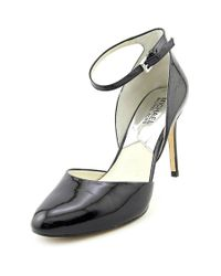 MICHAEL Michael Kors | Black Georgia Ankle Strap Round Toe Patent Leather Heels | Lyst