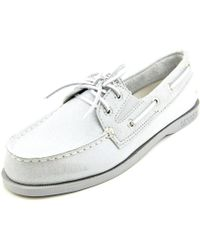 Sperry Top-Sider | Metallic Sperry Top Sider A/o Slip On Women Moc Toe Suede Silver Boat Shoe | Lyst