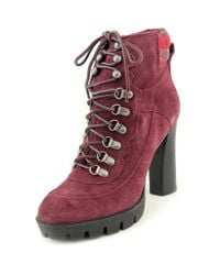 Nine West | Red Abrial Women Round Toe Suede Ankle Boot | Lyst