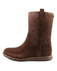 Cole Haan | Brown Roper Grand Boot Wp Round Toe Suede Mid Calf Boot | Lyst