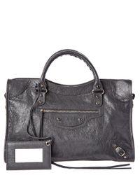 Balenciaga - Gray Classic Silver City Medium Leather Shoulder Bag - Lyst