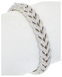 Nadri - Metallic Rhodium Plated Cz Woven Bracelet - Lyst