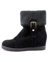Tommy Hilfiger | Black Soffia Round Toe Suede Ankle Boot | Lyst