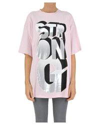 Pinko - Women's Pink Cotton T-shirt - Lyst
