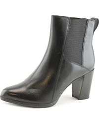 Clarks | Black Kadri Liana Women Round Toe Leather Bootie | Lyst