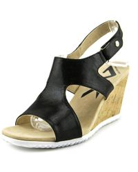Anne Klein | Minerva Women Open Toe Canvas Black Wedge Sandal | Lyst