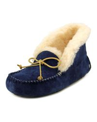 Ugg   Blue ® Alena Bow Detail Waterproof Suede Slippers   Lyst