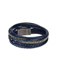 Saachi - Blue Leather Wrap Bracelet - Lyst
