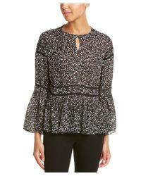 Nicole Miller - Black Bell Sleeve Silk Shirt - Lyst
