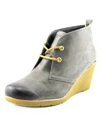 Sperry Top-Sider   Gray Sperry Top Sider Harlow Open Toe Leather Wedge Heel   Lyst