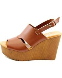 Callisto - Multicolor Presley Women Open Toe Synthetic Tan Wedge Sandal - Lyst