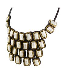 Aeravida | White Mosaic Droplets Natural Stone Statement Brass Necklace | Lyst