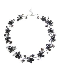 Aeravida | Black Intricate Cultured Freshwater Pearl Flower Link .925 Silver Necklace | Lyst