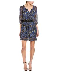 Charlotte Ronson | Blue Floral Silk A-line Dress | Lyst
