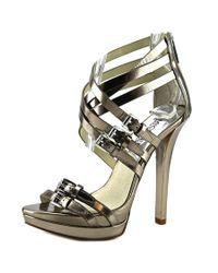 MICHAEL Michael Kors | Metallic Ava Sandal Women Open Toe Leather Bronze Platform Heel | Lyst