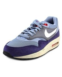 Nike - Blue Air Max 1 Essential Men Round Toe Leather Sneakers - Lyst
