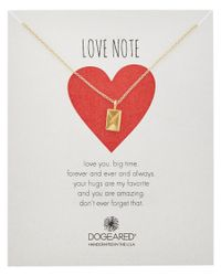 Dogeared - Metallic 14k Over Silver Love Note Envelope Necklace - Lyst