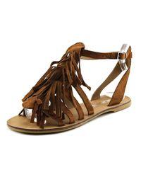 J/Slides - Kai Women Open Toe Suede Brown Gladiator Sandal - Lyst