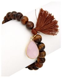 Elise M - Brown 18k Plated Beaded Stretch Bracelet - Lyst