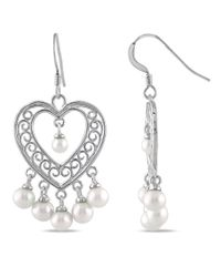 Catherine Malandrino   Metallic White Freshwater Cultured Pearl Chandelier Heart Earrings   Lyst