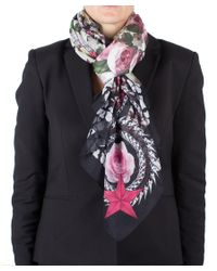 Givenchy | Black Women's Chain Border Floral Pattern Cotton Scarf Large | Lyst
