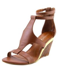 Boutique 9 | Brown Petruchio Women Open Toe Leather Wedge Sandal | Lyst