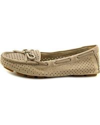 Frye - Gray Reagan Perf Driver Women Moc Toe Leather Loafer - Lyst