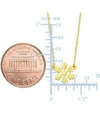 "JewelryAffairs - 14k Yellow Gold Mini Snowflake Pendant Necklace, 16"" To 18"" Adjustable - Lyst"