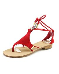 Trina Turk   Red Bayley Women Open Toe Suede Thong Sandal   Lyst