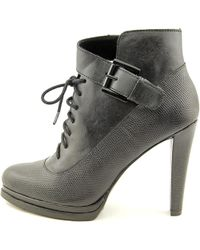 French Connection - Black Sasha Round Toe Leather Bootie - Lyst