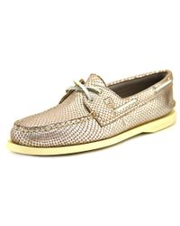 Sperry Top-Sider | Metallic Sperry Top Sider A/o 2-eye Python Women Moc Toe Leather Boat Shoe | Lyst