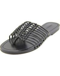 Sigerson Morrison | Black Bobi Open Toe Leather Slides Sandal | Lyst