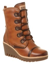 Pikolinos | Brown Maple Leather Wedge Bootie | Lyst