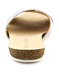 Enzo Angiolini - Metallic Fly By Open Toe Leather Slides Sandal - Lyst