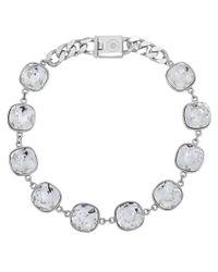 Eklexic - Metallic Cushion Cut Crystals And Curb Chain Necklace - Lyst