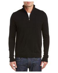 Qi | Black Cashmere Mock Neck 1/4-zip Sweater for Men | Lyst