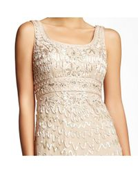 Sue Wong - Natural Embroidered Beaded Column Evening Gown - Lyst