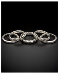 Lois Hill - Metallic Set Of 5 Classic Silver Stack Rings - Lyst