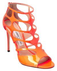 Jimmy Choo | Orange Ren 100 Neon Cage Patent Sandal | Lyst