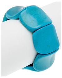 Devon Leigh - Blue Turquoise Stretch Bangle - Lyst