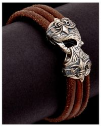 Scott Kay - Metallic Guardian Silver Men's Leather Bracelet - Lyst
