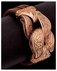 Scott Kay | Brown Guardian Rose Gold Over Silver & Leather Men's Bracelet for Men | Lyst