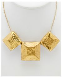 Devon Leigh | Metallic 18k Plated & 14k Plated Hammered Square Necklace | Lyst