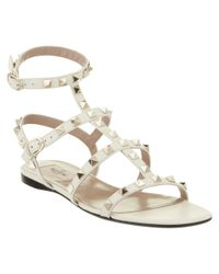 Valentino - White Rockstud Leather Cage Sandal - Lyst