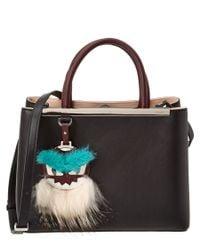 Fendi | Black Petite 2jours Fur-detail Leather Tote | Lyst