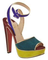 Christian Louboutin | Red Louloudance 140 Suede Ankle Strap Sandal | Lyst