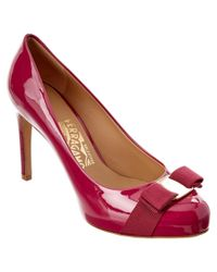 Ferragamo | Pink Pimpa Vara Bow Patent Platform Pump | Lyst