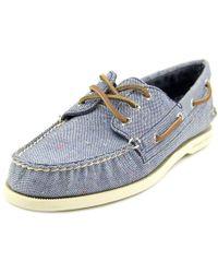 Sperry Top-Sider   Sperry Top Sider A/o 3-eye Fleck Men Moc Toe Canvas Blue Boat Shoe for Men   Lyst