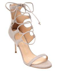 Giuseppe Zanotti | Gray Suede Lace-up Heeled Sandal | Lyst