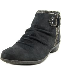 Cobb Hill - Black Nicole Round Toe Leather Ankle Boot - Lyst